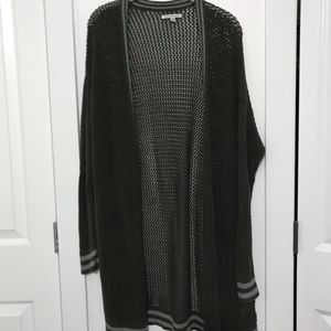 Over-Sized Green/Grey Varsity Stripped Cardigan